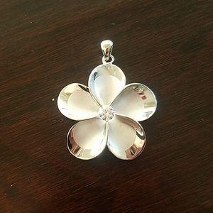 Sterling silver plumeria pendant
